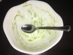 青汁ヨーグルトを完食.JPG